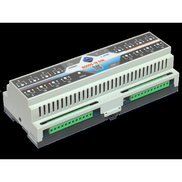 4. Ethernet реле на DIN рейку на 16 релейных канала RODOS-18 DIN