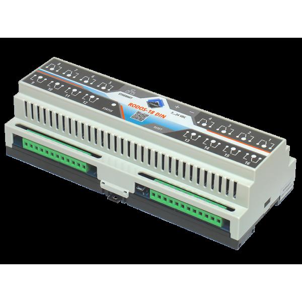 5. Ethernet реле на DIN рейку на 16 релейных канала RODOS-18 DIN