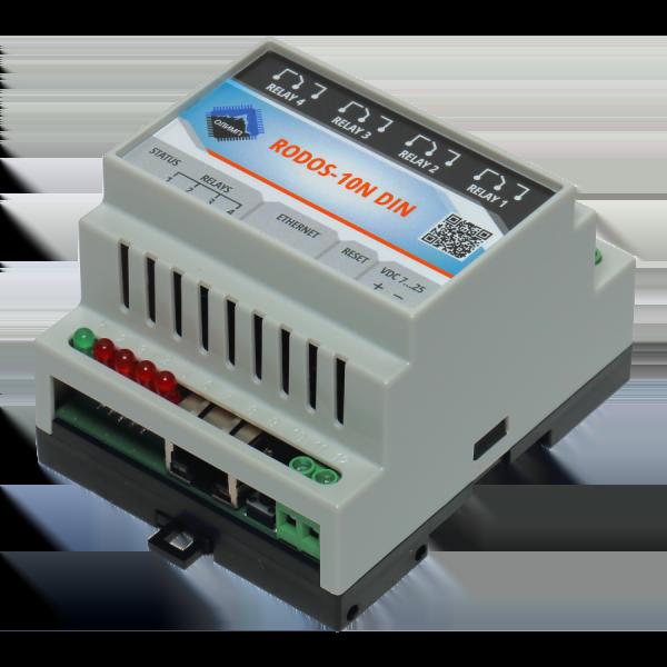 5. Ethernet реле на DIN рейку на 4 релейных канала RODOS-10N DIN