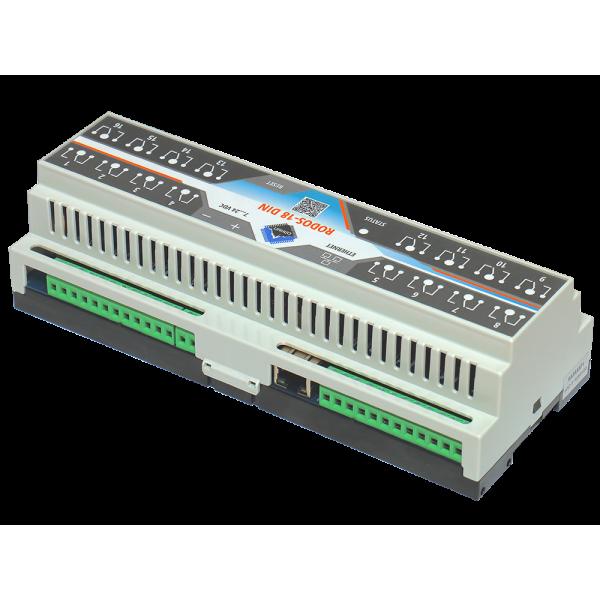 7. Ethernet реле на DIN рейку на 16 релейных канала RODOS-18 DIN