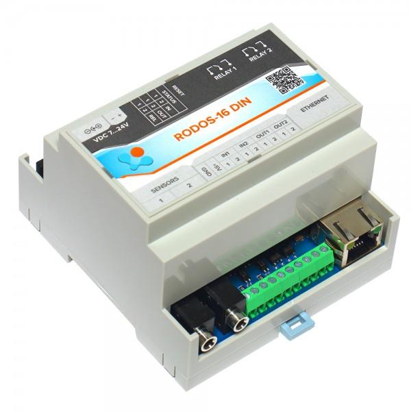 Интернет термостат/гигростат c 2-мя релейными каналами и логическими входами/выходами RODOS-16 DIN
