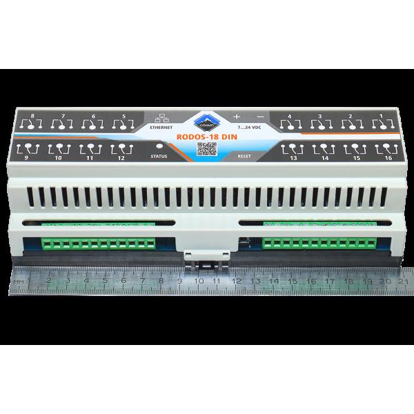 8. Ethernet реле на DIN рейку на 16 релейных канала RODOS-18 DIN