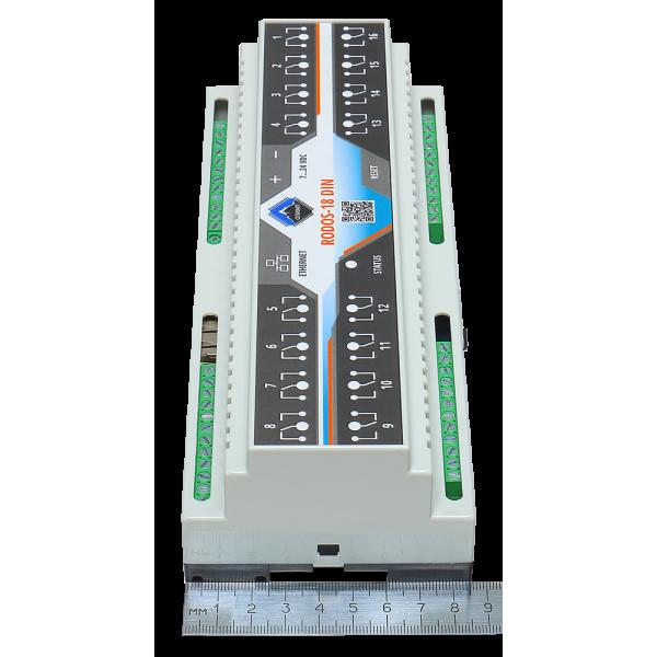 9. Ethernet реле на DIN рейку на 16 релейных канала RODOS-18 DIN