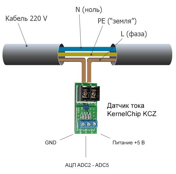 Измерение силы тока 220В датчиком тока KCZ-20