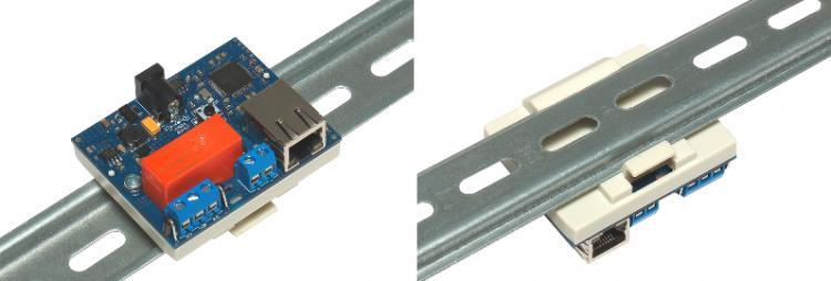 Рис.1 - Вариант крепления RODOS-8 Open Frame на DIN рейкус помощью специального корпусаSanhe 23-60