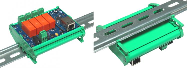 Рис.1 - Вариант крепления RODOS-10 Open Frame на DIN рейкус помощью специального корпусаSanhe 23-59