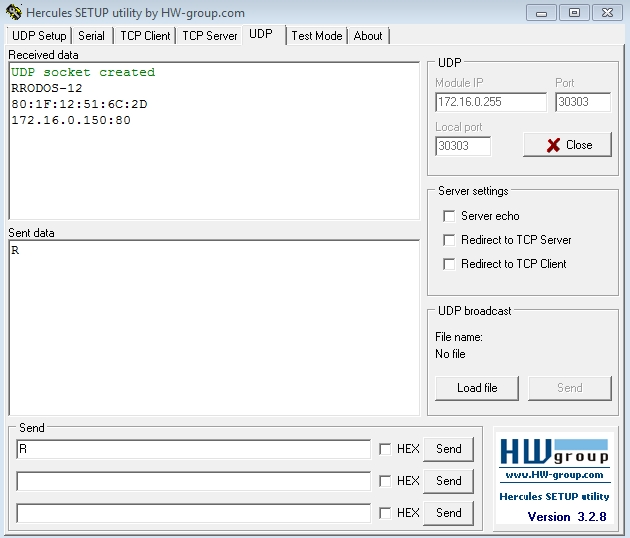 Рис.15 - Получение списка подключенных устройств RODOS-12 DIN по UDP