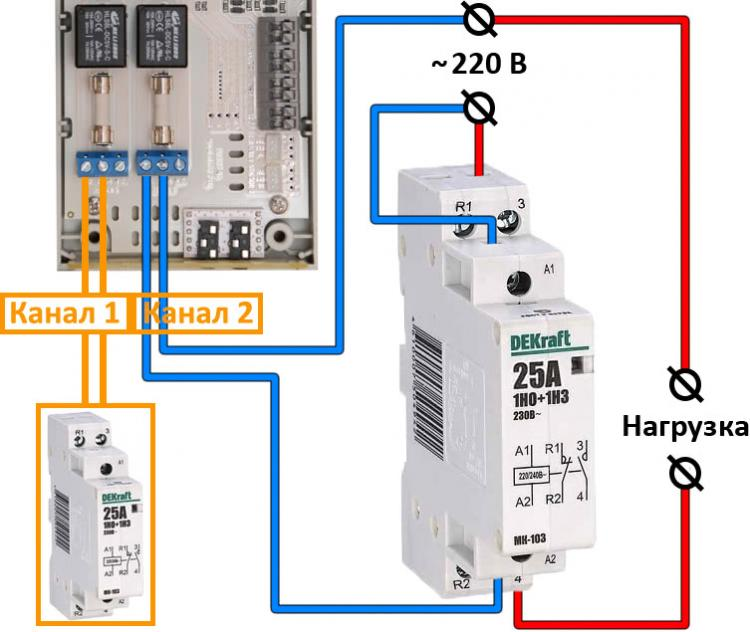 Рис.1 - Схема подключение контактора к интернет термостату RODOS-16