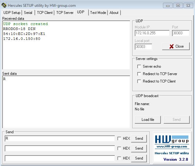 Рис.14 - Получение списка подключенных устройств по UDP