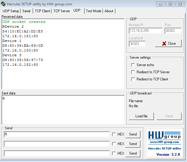 Рис.17 - Получение списка подключенных устройств RODOS-10 Open Frame по UDP