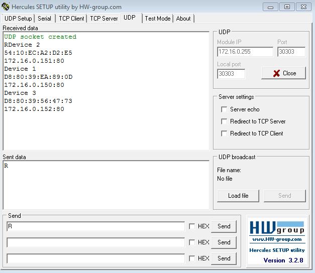 Рис.15 - Получение списка подключенных устройств RODOS-10N DIN по UDP
