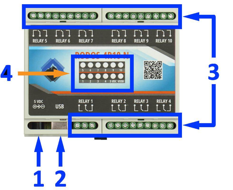 Описание USB реле RODOS-4R10 N
