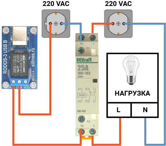 Подключение USB реле RODOS-3 c разъемом USB B