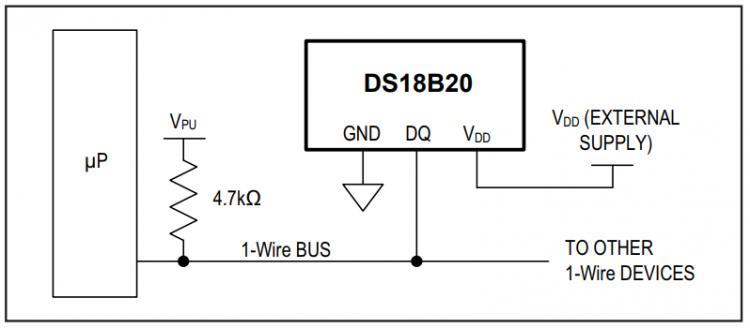 Рис.4 - Схема трехпроводного подключения датчика температуры DS18B20