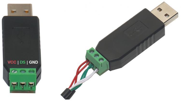 Рис.2 - Схема подключения датчиков DS18B20 к USB термометру многоканальному RODOS-5Z