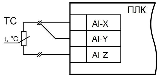 Трехпроводная схема подключения термосопротивления к аналоговым входам ПЛК