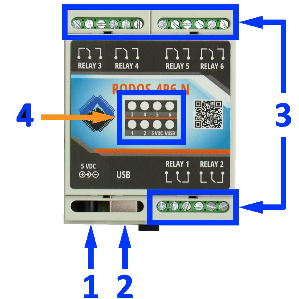 USB реле на 6 релейных каналов RODOS-4R6 N описание