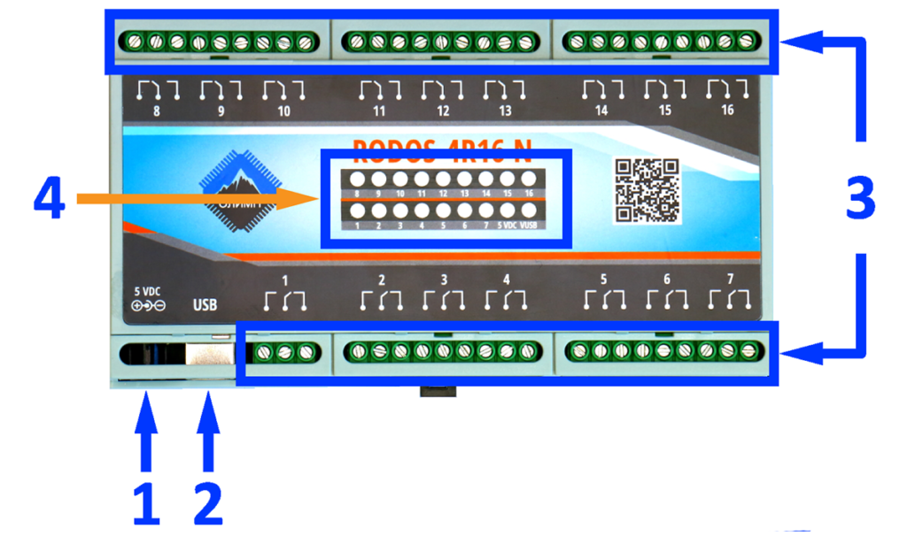USB реле на 16 релейных каналов RODOS-4R16 N описание