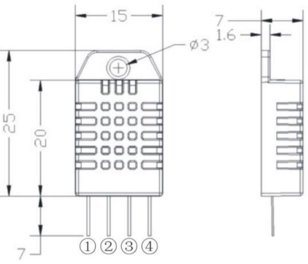 Рис.3 - Датчик температуры и влажности DHT22 (AM2302) - размеры датчика, мм