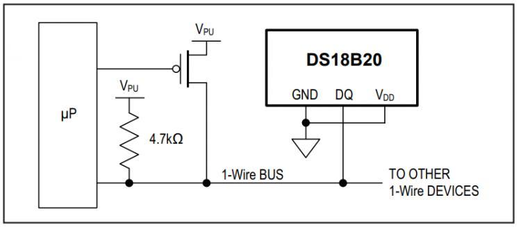 """Рис.3 - Схема для двухпроводного """"паразитного"""" подключения питания датчика температуры DS18B20"""