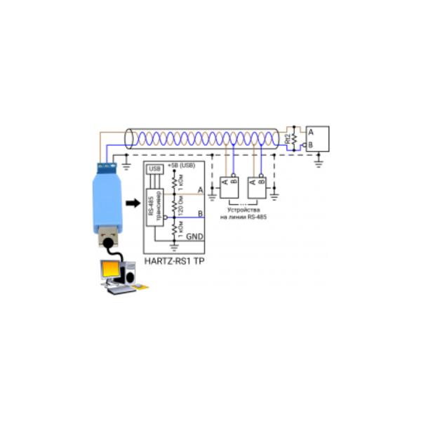 Подключение HARTZ-RS1 TP к линии RS-485