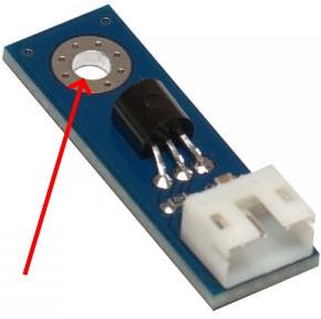 Рис.1 - Датчик температуры REX-1 - сквозное отверстие для крепления на вертикальную или горизонтальную поверхность