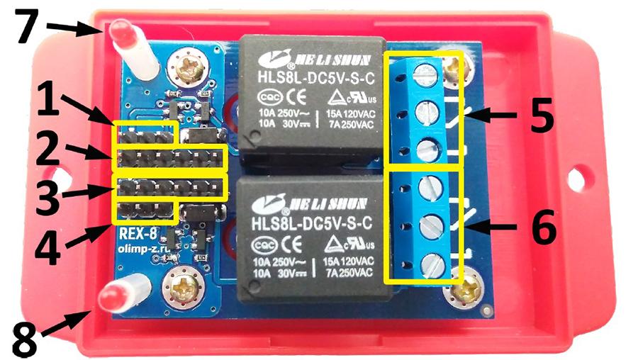 Релейный модуль на 2 канала REX-8