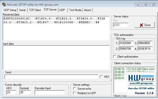 Рис.7 - Отправка данных от TE-MONITOR V.6 на пользовательский сервер