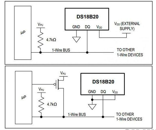 Рис.2 - Изображение схемы подключение датчиков DS18B20 параллельно друг к другу