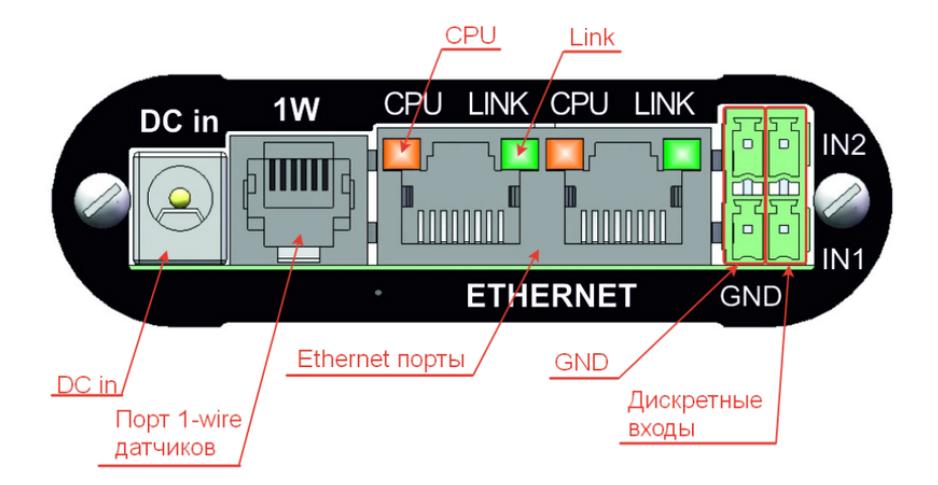Рисунок 2. Передняя панель NetPing ИК модуля, модель 3801