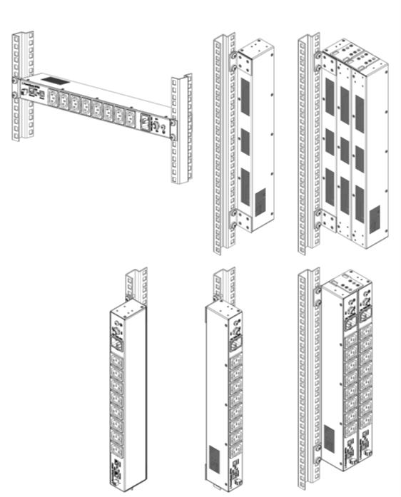 Рисунок 1. Варианты установки LPowerNode 8PDU в стойке 19'' стандарта