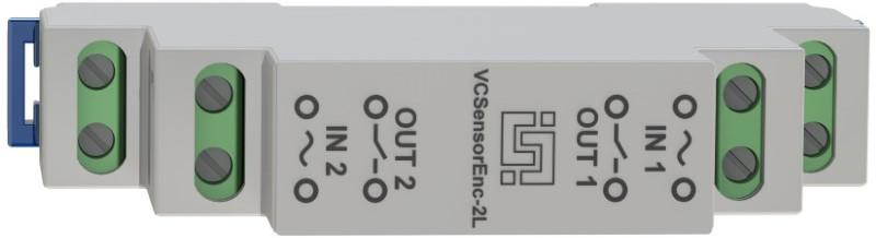 Рис.1 - VCSensorEnc-2LS - двухканальный изолированный датчик контроля наличия напряжения для установки на DIN рейку - вид спереди