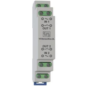 VCSensorEnc-2LS - двухканальный изолированный датчик контроля наличия напряжения для установки на DIN рейку
