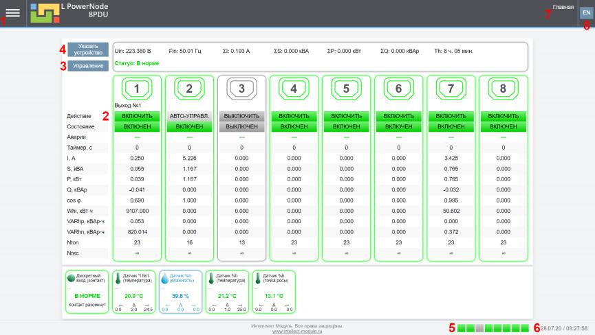 Рисунок 3. Вид главной страницы web интерфейса устройства LPowerNode 8PDU