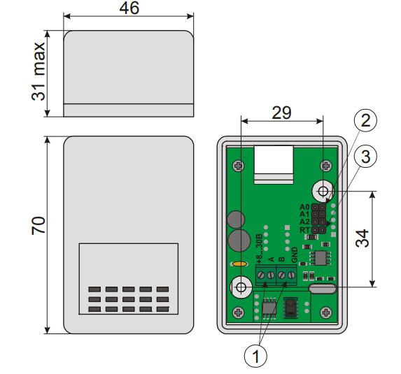 Рисунок 1. Внешний вид, габаритные размеры и назначение органов подключения датчика US-RS485