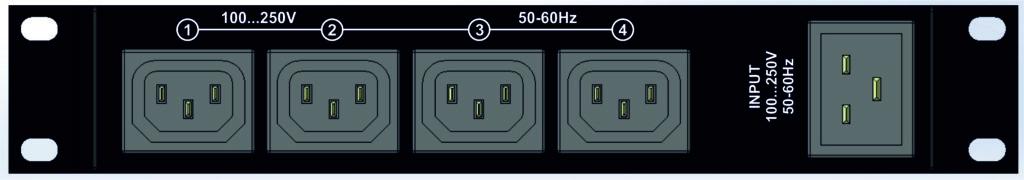 Рисунок 2. IP PDU устройство NetPing 4/PWR 220 v6.1/GSM3G - задняя панель с 4-мя управляемыми розетками IEC320-C13 и вводом питания