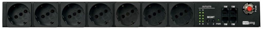 Рисунок 2. Передняя панель блока розеток NetPing 1-wire 888S0201