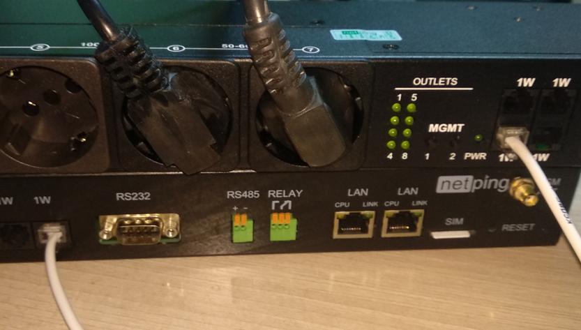 Рисунок 6. Подключение нагрузки к NetPing блоку розеток 1-wire 888S0201