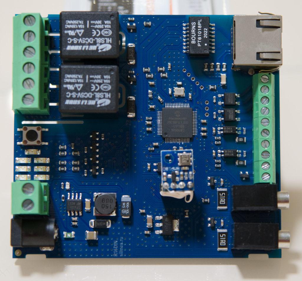 Рисунок 5. Внешний вид печатной платы RODOS-16 DIN с лицевой стороны