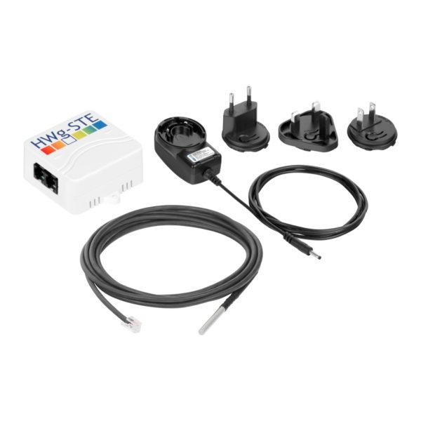 В комплекте: HWg-STE, адаптер переменного тока, один датчик температуры.