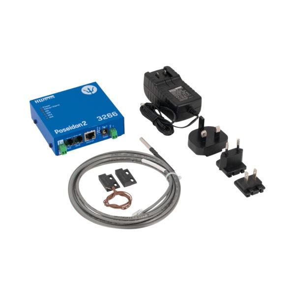 Poseidon2 3266 THSet включает датчик температуры и влажности, дверной контакт и адаптер питания.
