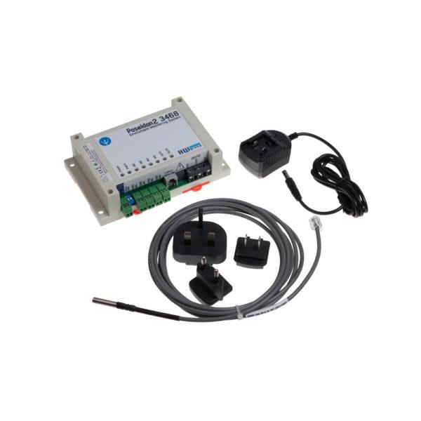 Poseidon2 3468 TSet включает датчик температуры и адаптер питания.