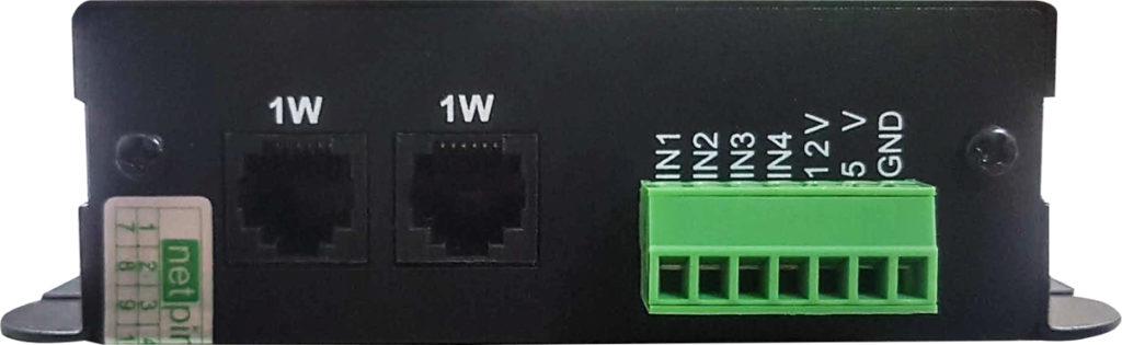 Рисунок 2. Устройство мониторинга NetPing Input+Relay v1 - вид со стороны 1-Wire портов и клеммной колодки