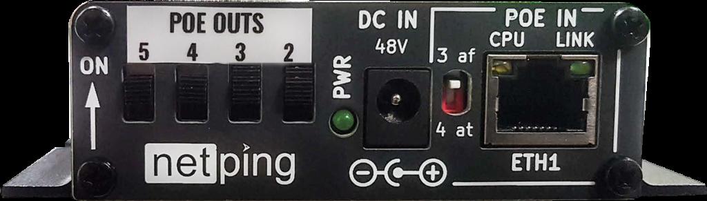 Рисунок 1. Рисунок 2. POE коммутатор NetPing NP-GB322 - панель переключателей и Ethernet POE IN порта