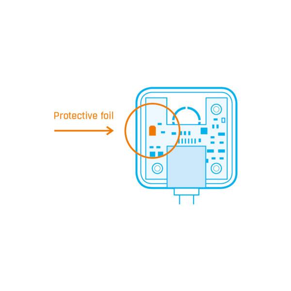 Перед первым использованием снимите крышку и снимите защитную пленку с чипа датчика влажности.