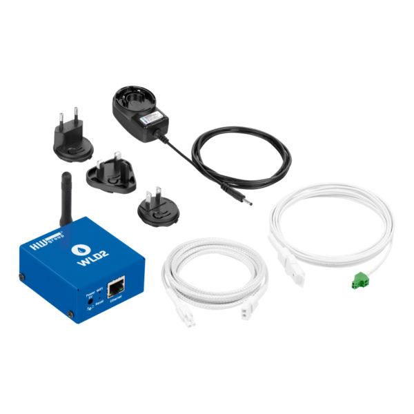 WLD2 SET, полный комплект с кабелем обнаружения 2 м + соединительным кабелем 2 м, адаптером питания.