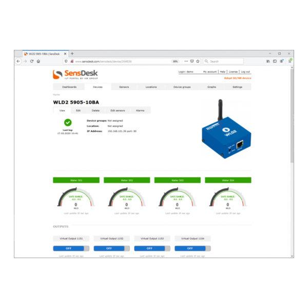 WLD2 можно подключить к порталу SensDesk по протоколу HWg-Push, а также к стандартным системам мониторинга благодаря поддержке SNMP и SNMP Trap.