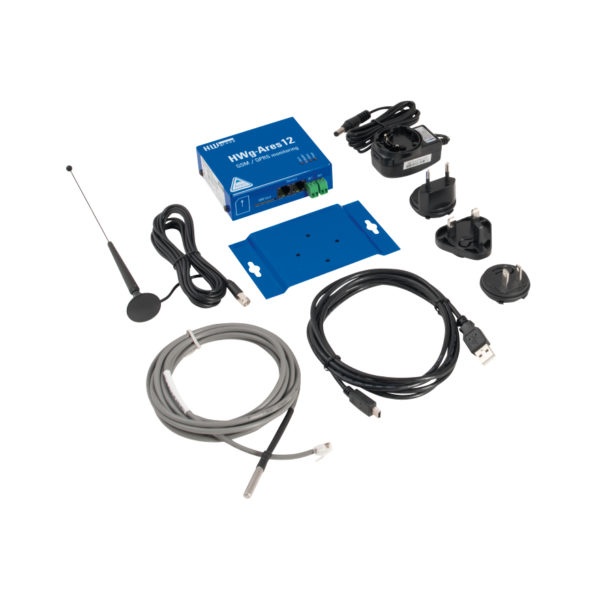 Ares 12 set Bulk + датчик температуры, адаптер питания, антенна GSM, кабель USB и компакт-диск с программным продуктом.