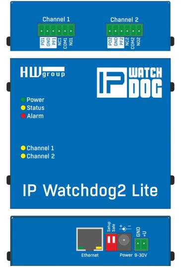 Рисунок 2. Разъемы и элементы управления IP WatchDog2 Lite