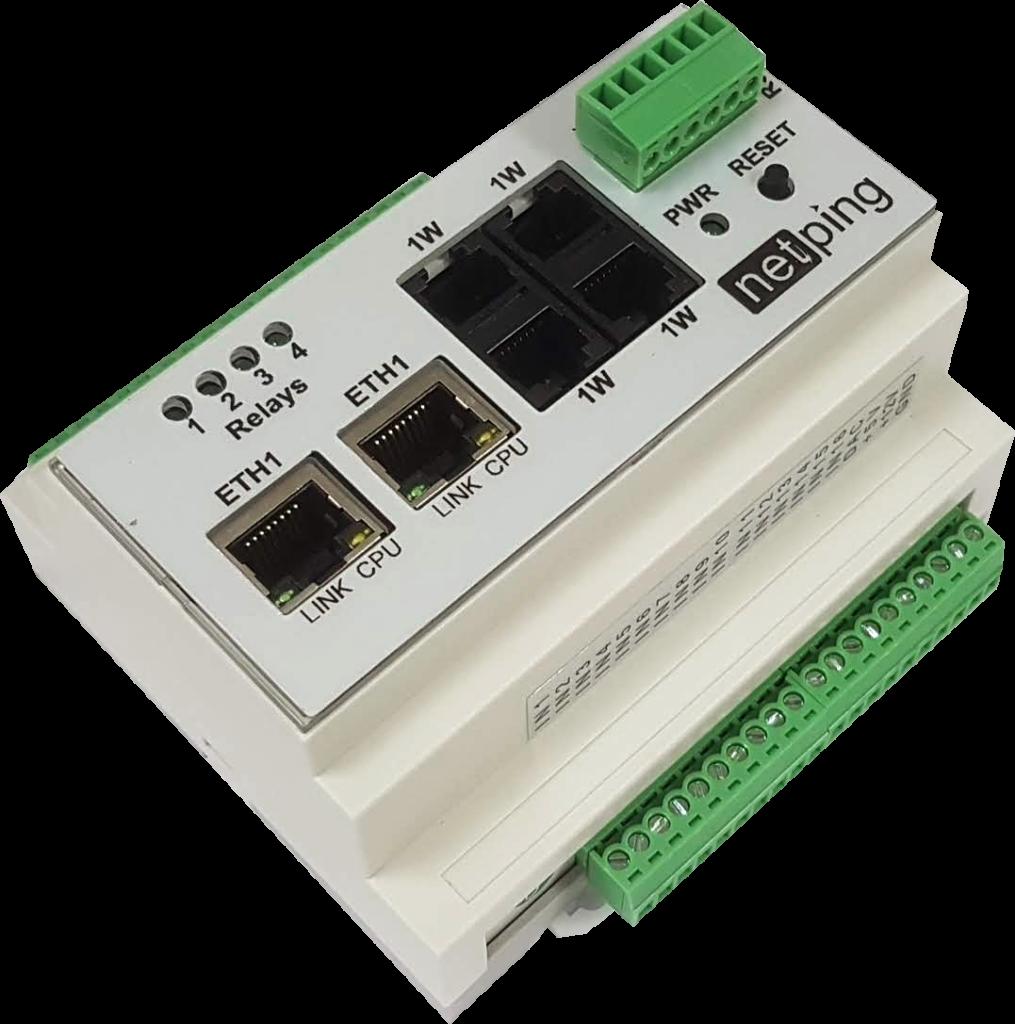 Рисунок 1. Устройство удаленного мониторинга, слежения за микроклиматом и управления реле по сети Ethernet/Internet на DIN-рейку NetPing v4 - обзорный вид